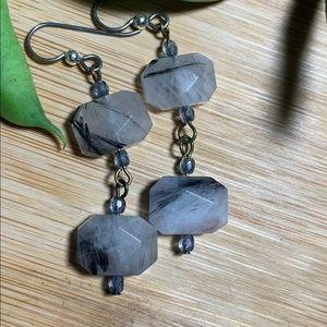Rutilated Quartz/Tanzanite earrings